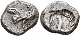 MACEDON. Dikaia. Circa 450-425/0 BC. Diobol (Silver, 10 mm, 1.20 g, 12 h). Rooster standing right. Rev. Incuse head of horse to left. CNG EA 238 (2010...