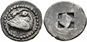 MACEDON. Eion. Circa 460-400 BC. Trihemiobol (Silver, 11 mm, 0.93 g). Goose standing right, head left; above, lizard left. Rev. Quadripartite incuse s...