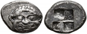 MACEDON. Neapolis. Circa 500-480 BC. Obol (Silver, 11 mm, 1.12 g). Facing head of a Gorgon with a protruding tongue. Rev. Quadripartite incuse square....