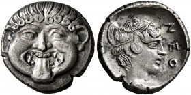 MACEDON. Neapolis. Circa 424-350 BC. Hemidrachm (Silver, 12 mm, 1.69 g, 1 h). Facing gorgoneion with protruding tongue. Rev. NEO[Π] Head of the nymph ...