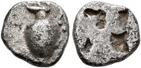 MACEDON. Terone. Circa 490-460 BC. Hemiobol (Silver, 7 mm, 0.42 g). Oinochoe to left. Rev. Rough quadripartite incuse square. CNG EA 268 (2011), 42. H...