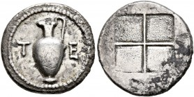 MACEDON. Terone. Circa 424-422 BC. Tetrobol (Silver, 15 mm, 2.39 g). T-E Oinochoe. Rev. Quadripartite incuse square with granulated recesses. Hardwick...