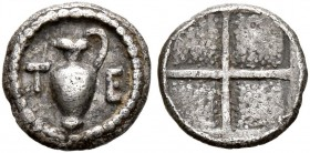MACEDON. Terone. Circa 424-422 BC. Tetartemorion (Silver, 7 mm, 0.21 g). T-E Oinochoe. Rev. Quadripartite incuse square with granulated recesses. Hard...