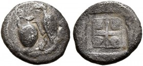 MACEDON. Terone. Late 5th century BC. Hemiobol (Silver, 8 mm, 0.32 g). Oinochoe, stork to right. Rev. [Θ-E-P-O] Quadripartite square in relief within ...