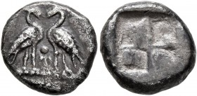 MACEDON. Uncertain. Circa 500-480 BC. Triobol (?) (Silver, 11 mm, 1.90 g). Two geese standing facing one another; between them, pellet. Rev. Quadripar...