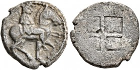 KINGS OF MACEDON. Alexander I, 498-454 BC. Tetrobol (Silver, 14 mm, 2.34 g). Horseman to right, wearing chlamys and petasos and holding two spears. Re...