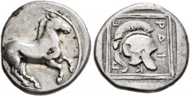 KINGS OF MACEDON. Perdikkas II, 451-413 BC. Tetrobol (Silver, 14 mm, 2.04 g, 9 h). Horse prancing right. Rev. Π-E-PΔI-K Crested helmet right; all with...
