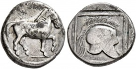 KINGS OF MACEDON. Perdikkas II, 451-413 BC. Tetrobol (Silver, 13 mm, 2.03 g, 9 h). Horse walking right. Rev. Crested helmet right within linear border...