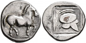 KINGS OF MACEDON. Perdikkas II, 451-413 BC. Tetrobol (Silver, 13 mm, 1.95 g, 3 h). Horse walking right. Rev. Crested helmet right within linear border...
