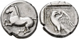 KINGS OF MACEDON. Archelaos, 413-400/399 BC. Tetrobol (Silver, 12 mm, 2.05 g, 10 h). Horse prancing left. Rev. AΡXEΛ-A-O Eagle standing left, wings sp...