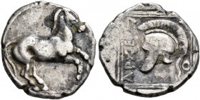 KINGS OF MACEDON. Archelaos, 413-400/399 BC. Tetrobol (Silver, 14 mm, 1.73 g, 10 h). Horse prancing right. Rev. AΡXEΛ-A-O Crested helmet left within d...