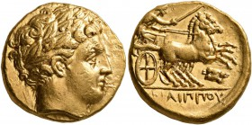 KINGS OF MACEDON. Philip II, 359-336 BC. Stater (Gold, 16 mm, 8.59 g, 10 h), Amphipolis, struck under Philip II or Alexander III, circa 340/36-328 BC....