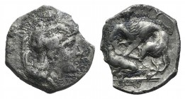 Southern Apulia, Tarentum, c. 380-325 BC. AR Diobol (11mm, 0.89g, 3h). Head of Athena r., wearing crested helmet decorated with hippocamp. R/ Herakles...