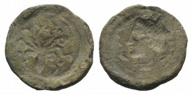 Sicily, Syracuse, 5th century BC. PB Seal (21mm, 5.96g, 12h). Incuse head of Arethusa l.; dolphins around. R/ Incuse octopus; four pellets around. VF