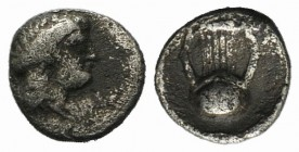 Thraco-Macedonian Region, Uncertain, 5th century BC. AR Hemiobol (7mm, 0.40g). Laureate head of Apollo r. R/ Kithara within incuse square. SNG ANS -. ...