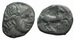Kings of Macedon, Alexander III 'the Great' (336-323). Æ Unit (12mm, 2.28g, 4h). Young male head r., wearing tainia. R/ Horse prancing r.; trident bel...