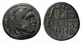 Kings of Macedon. Alexander III 'the Great' (336-323 BC). Æ (19mm, 5.79g, 3h). Uncertain mint in Western Asia Minor. Head of Herakles r., wearing lion...