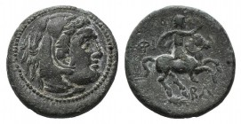 Kings of Macedon, Philip III (323-317 BC). Æ Unit (20mm, 6.59g, 6h). Uncertain mint in Macedon. Head of Herakles r., wearing lion skin. R/ Rider on ho...