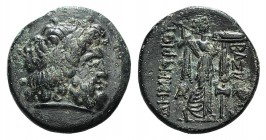 Kings of Macedon, Demetrios I Poliorketes (306-283 BC). Æ (19mm, 4.85g, 12h). Uncertain mint, c. 306-283 BC. Laureate head of Zeus r. R/ Athena Promac...
