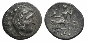 Kings of Thrace, Lysimachos (305-281) AR Drachm (18mm, 4.10g, 12h). In the name and types of Alexander III. Kolophon, circa 301/0-300/299 BC. Head of ...