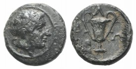 Thrace, Alopekonnesos, c. 400-300 BC. Æ (12mm, 2.03g, 6h). Wreathed head of Dionysos r. R/ Kantharos; ivy-leaf to l. SNG Copenhagen 859 var. (no symbo...