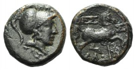 Thessaly, Thessalian league, late 2nd-mid 1st century BC. Æ Dichalkon (15mm, 4.43g, 12h). Ippaitas, magistrate. Helmeted head of Athena r. R/ Horse tr...