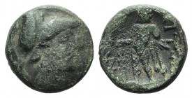 Aetolian League, c. 250-150 BC. Æ Hemiobol (17mm, 5.79g, 6h). Helmeted head of Athena r. R/ Herakles standing l., head r., holding lion-skin and club....