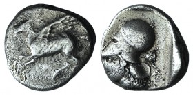 Corinth, c. 300 BC. AR Stater (20mm, 8.09g, 4h). Pegasos flying l. R/ Helmeted head of Athena l.; in r. field, bucranium. Ravel 489. Slightly off cent...