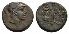 Pontos, Amisos, c. 111-90 BC. Æ (20mm, 7.83g, 12h). Helmeted head of Athena r. R/ Sword in sheath; star-in-crescent and IB across upper fields, monogr...