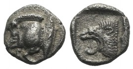 Mysia, Kyzikos, c. 450-400 BC. AR Diobol (10mm, 1.24g, 2h). Forepart of boar l.; to r., tunny upward. R/ Head of roaring lion l. within incuse square....