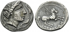 SPAIN. Emporion . After 241 BC. Drachm (Silver, 19 mm, 4.65 g, 9 h). Wreathed head of Arethusa to right, with three dolphins swimming around. Rev. EMΠ...