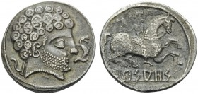 SPAIN. Arsaos . Circa 150-100 BC. Denarius (Silver, 18 mm, 3.87 g, 1 h). Bearded male head to right; to right, dolphin; to left, plow. Rev. Arsa Horse...