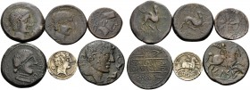SPAIN. (64.09 g). Lot of 6 AE and AR coins from Spain: 1. Castulo. AE, 29 mm, 12.68g. SNGBM 1298 ff; 2. Castulo. AE, 25 mm, 12.12 g. SNGBM 1298 ff; 3....