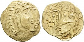 CELTIC, Northeast Gaul. The Parisii . Circa 70-60 BC. Stater (Gold, 24 mm, 6.99 g, 2 h), Class V. Celticized head of Apollo to right. Rev. Stylized ho...