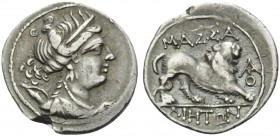 GAUL. Massalia . Circa 200-150 BC. Drachm (Silver, 18 mm, 2.56 g, 6 h). Bust of Artemis to right. Rev. MAΣΣAΛIHTΩN Lion walking right; to right, monog...
