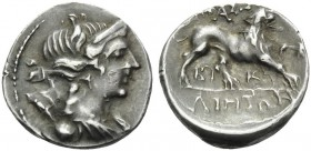 GAUL. Massalia . Circa 200-150 BC. Drachm (Silver, 16 mm, 2.75 g, 6 h). Bust of Artemis to right. Rev. MAΣΣAΛIHTΩN Lion walking right; between legs, B...