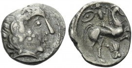 CELTIC, Central Gaul. Pictones . Circa 110/00-90 BC. Drachm (Silver, 17 mm, 2.78 g). Male head to right; on cheek, cross of four pellets. Rev. Warrior...