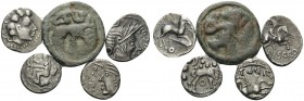 GAUL. (Silver, 12.04 g). Lot of 5 Gallic Coins. 1. Aedui. AR Unit, 14 mm, 2.03 g. DLT 4858; 2. Allobroges. AR Quinarius, 18 mm, 1.92 g. Dembski 159-16...