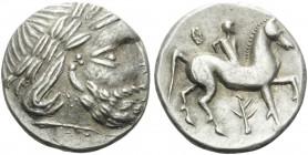 CELTIC, Carpathian region. early 3rd Century BC. Tetradrachm (Silver, 25 mm, 13.57 g, 12 h), Zweigreiter type, imitating Philip II of Macedon, struck ...