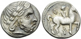 CELTIC, Carpathian region. Early 3rd Century BC. Tetradrachm (Silver, 26 mm, 13.26 g, 5 h), Zweigreiter type, imitating Philip II of Macedon, struck i...