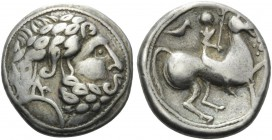 CELTIC, Carpathian region. Uncertain tribe . Late 3rd century BC. Tetradrachm (Silver, 25 mm, 14.22 g, 12 h), Vogelreiter type. Celticized laureate he...