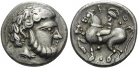 CELTIC, Carpathian region. 3rd century BC. Tetradrachm (Silver, 24 mm, 14.19 g, 11 h), Baumreiter type. Celticized head of Zeus to right. Rev. Horsema...