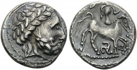 CELTIC, Carpathian region. Uncertain tribe , 3rd century BC. Tetradrachm (Silver, 25 mm, 12.80 g, 12 h), Audoleon type, triskeles variety, Northern Hu...