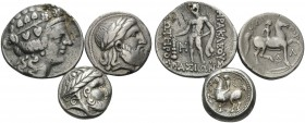 CELTIC. (Silver, 42.85 g). Lot of 3 Imitative Tetradrachms from the Balkan Area. 1. Probable imitation of Philip II, le Rider Pl. 45, 11-12. AR, 23 mm...