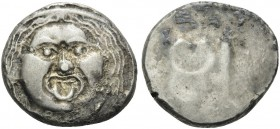 ETRURIA. Populonia . 3rd century BC. 20 Asses (Silver, 21 mm, 8.33 g). Facing head of Metus (Gorgon). Rev. Two caducei, tête-bêche. HN III 150. Vecchi...