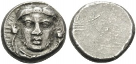 ETRURIA, Asia. Populonia . Circa 300-250 BC. 20 Asses (Silver, 19 mm, 8.56 g). Facing head of Hercle (Herakles) wearing lion skin . Rev. Blank. HN III...