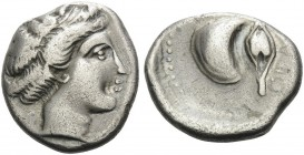 CAMPANIA. Cumae . Circa 420-385 BC. Didrachm (Silver, 20 mm, 7.21 g, 3 h). Head of a nymph to right. Rev. Κ[VΜ]ΑΙΟ[Ν] Mussel shell and barley grain. H...