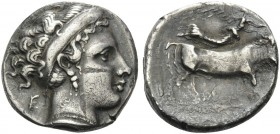CAMPANIA. Neapolis . 350-325 BC. Didrachm (Silver, 20 mm, 6.32 g, 9 h). Head of nymph to right; behind, Ε. Rev. [ΝΕΟΠΟΛΙΤΗΣ] Man-headed bull to right ...