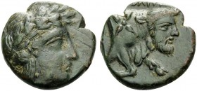 CAMPANIA. Neapolis . 350-325 BC. Chalkous (Bronze, 17 mm, 4.38 g, 11 h). Head of Apollo to right. Rev. [ΝΕΟΠ]ΟΛΙΤΗ[Σ] Forepart of man-headed bull to r...