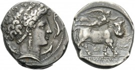 CAMPANIA. Neapolis . Circa 300 BC. Didrachm or nomos (Silver, 20 mm, 7.36 g, 7 h). Head of Parthenope to right; around, four dolphins. Rev. ΝΕΟΠΟΛΙΤΗΣ...
